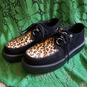 T.U.K. leopard (cow hide and leather) creepers
